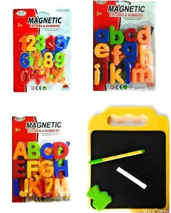 Futurez Key Kids 78 Pieces Magnetic Learning Alphabets and Numbers Set with 2in1 black and white board